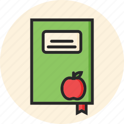 back to school, book and apple, education, study icon