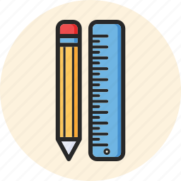back to school, education, pencil, ruler icon