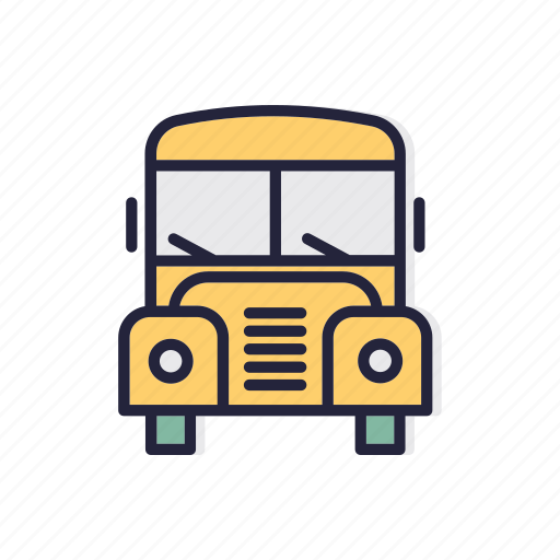 back, bus, line, school, thin, yellow icon