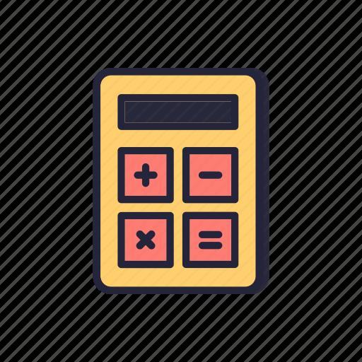 back, calculator, count, line, mathematics, school, thin icon