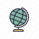 back, geography, globe, line, school, thin icon