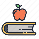 apple, book, education, educational, fruit, school, supplies icon