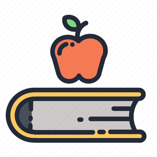 apple, book, education, educational, fruit, school, supplies icon