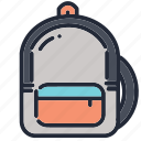 back, backpack, bag, education, educational, pack, school icon
