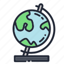 education, educational, geography, globe, map, school, world icon