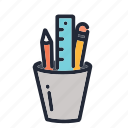 education, educational, pen, pencil, ruler, school, supplies icon