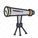 education, educational, gazing, school, scope, star, telescope icon