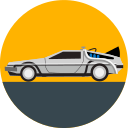 back to the future, car, delorean, future, transport, transportation, vehicle icon