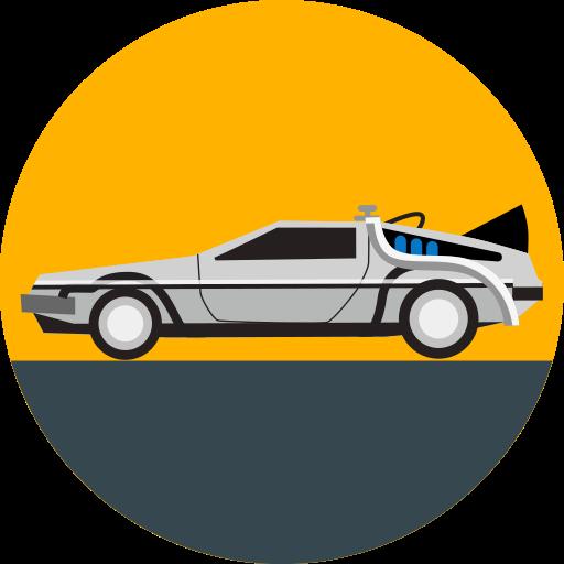 back to the future, car, delorean, future, transport, transportation, vehicle icon
