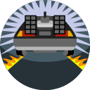 back to the future, car, delorean, fast, fire, vehicle icon