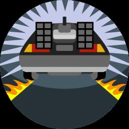 back to the future, car, delorean, fast, fire, vehicle icon