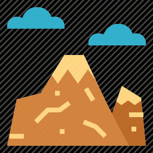 landscape, mountain, nature, sun icon