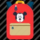 backpack, cartoon print backpack, mickey mouse bag, playgroup bag, preschool bag icon