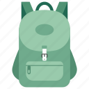 back to school, bag, book bag, haversack, school bag icon