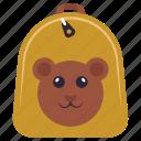backpack, cartoon print backpack, playgroup bag, preschool bag, teddy bear icon
