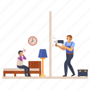 drill machine, restlessness, sleepless, worker, irritation, neighbor