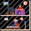 man, watching tv, restlessness, woman, loud sound, sleepless icon