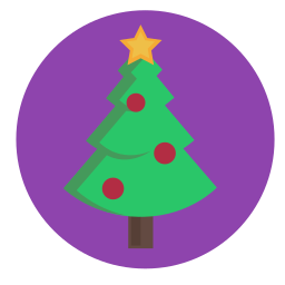 bauble, christmas, decorated, evergreen, star, tree icon