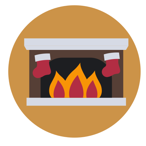 christmas, fireplace, glow, stocking, warm icon
