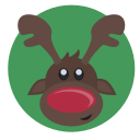 christmas, red nose, reindeer, rudolph icon