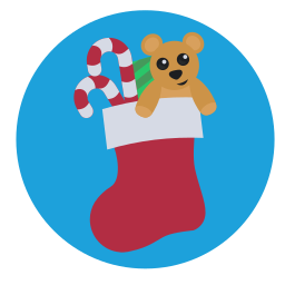 christmas, presents, stocking, teddy icon