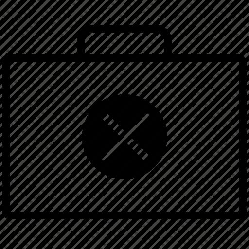 bag, briefcase, cancel, case, close, delete, line, no, remove, suitcase icon