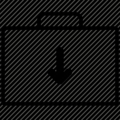 arrow, bag, briefcase, case, down, download, line, suitcase icon