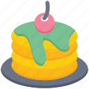 bakery, breakfast, cake, dessert, food, pancake, set icon