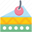 bakery, cake, cake piece, dessert, food, piece, sweet icon