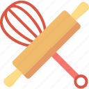 whisk, rolling, bakery, tools, cooking, pin, equipment icon