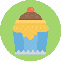 cherry, on, pie, round, round pie, top, with icon