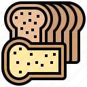 bread, loaf, sliced, toast, wheat icon