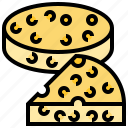 cheddar, cheese, dairy, piece, wheel icon