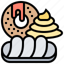 bakery, confectionery, cream, donuts, pastry icon