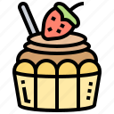 confectionery, cupcake, decorated, dessert, muffin icon