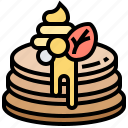 breakfast, fruits, meal, pancake, syrup icon