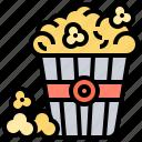 bucket, cinema, leisure, popcorn, snack