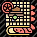 breakfast, cream, dessert, fruit, waffle icon