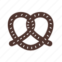crunchy, food, pretzel, salt, salty, snack, tasty icon