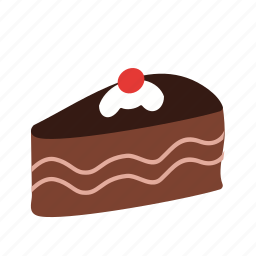 birthday, cake, chocolate, cream, food, piece, slice icon