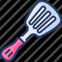 cake, kitchen, slicer, slotted, spatula, spoon, utensil