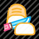 baked, bread, cut, cutting, knife, piece, sliced