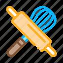 kitchen, manual, mixer, pin, rolling, utensil, wooden