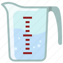 baking, cup, kitchen, measure, measuring cup, water, yumminky icon