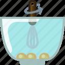 baking, dish, eggs, ingredients, kitchen, mixing, yumminky icon