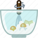 baking, butter, dish, eggs, ingredients, mixing, yumminky icon
