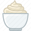 baking, cream, dish, double cream, kitchen, whipped cream, yumminky icon