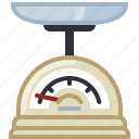 baking, cooking, kitchen, kitchen scale, scale, tool, yumminky icon