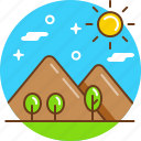 climbing, landscape, mountain, nature, sun icon