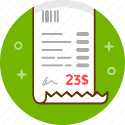 bill, check, invoice, payment, receipt icon